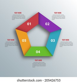 Abstract 3D Paper Infographics. Pentagon shape. Vector illustration