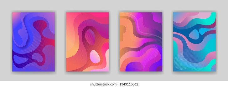 Abstract 3d paper liquid background set. Contrast bright trendy colors, fluid, flow shapes. Can be used as banner, presentation, flyer, poster, web design, website, invitations. Eps10 Vector