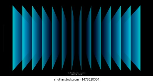 Abstract 3D perspective transparent rectangles overlay pattern by green blue colors on black background. Vector illustration in concept technology, modern.
