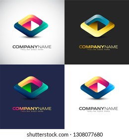 Abstract 3D Play Button logo Template for your Company Brand