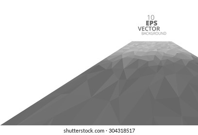 Abstract 3D polygonal background, black and white vector.