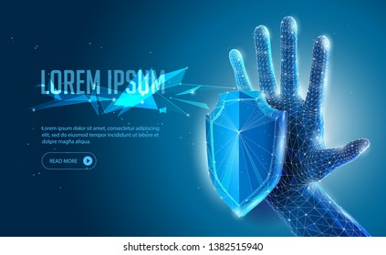 Abstract 3D Polygonal Wireframe Protection Shield, Open Hand, Arm On Blue Background. Banner, Poster, Advertisement. Security, Safe Concept, Power, Strength, Protection, Control, Touch, Stop.