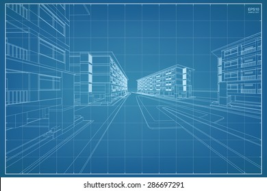 Abstract 3D render of building wireframe - Vector illustration