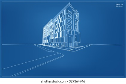 Abstract 3D render of building wireframe. Vector illustration