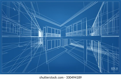 Abstract 3D render of building wireframe structure. Vector house construction graphic idea.