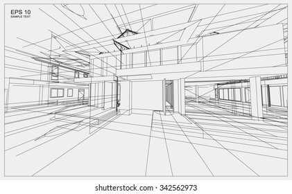 Abstract 3D render of building wireframe structure. Vector construction graphic idea for template design.