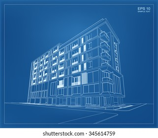 Abstract 3D render of building wireframe. Vector schematic design of architecture with blueprint background.