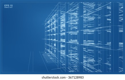 Abstract 3D render of building wireframe. Vector architectural construction graphic idea.