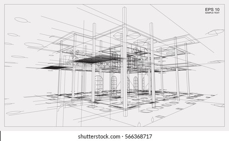 Blueprint plans images stock photos vectors shutterstock abstract 3d render of building wireframe structure vector construction graphic idea malvernweather Choice Image