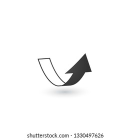 Abstract 3d ribbon like arrow in perspective with shadow, shows direction. Vector illustration isolated on white background.