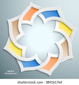 Abstract 3D round infographic shape with arabesque design