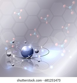 Abstract 3d scientific background with wave, molecules and beautiful glow