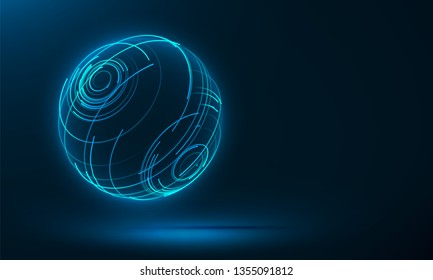 Abstract 3d sphere consist of neon stripes. Global network connection.  Abstract Globe Grid. Worldwide communication. Futuristic earth globe. Vector science, technology illustration.