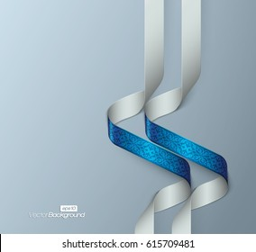 Abstract 3d spiral floral ribbons on pale blue background