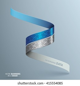 Abstract 3d spiral metallic ribbon logo with floral elements, ribbon banners
