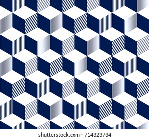 Abstract 3d striped cubes geometric seamless pattern in blue and white, vector