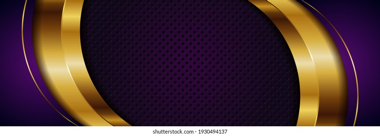 abstract 3d style luxury golden line overlap layer background . Luxurious modern dark in gold shades template deluxe design illustration vector