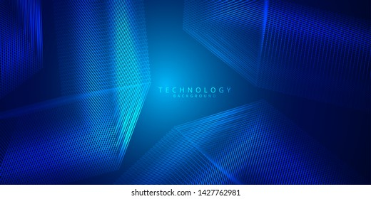 Abstract 3d technology and science blue neon visualization. Blockchain and cryptocurrency. Digital wallpaper. Business concept. Big data and artificial intelligence. Rendering computer virtual reality