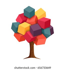 Abstract 3d tree with colorful cube shapes as leaves, concept illustration design. EPS10 vector.