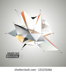 Abstract 3D triangles vector geometric background. Lines connected with dots, low polygon design, inspirited by origami.