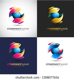 Abstract 3D Twin Fish logo Template for your Company Brand