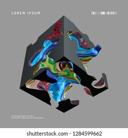 Abstract 3d vector background. Modern composition with black cube and multi-colored entrails, wall art poster template.