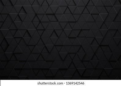 Abstract 3d vector black triangle background,grunge surface-illustration