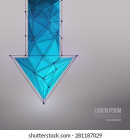 Abstract 3d vector technology blue arrow with wireframe structure background. Vector digital background for web, applications, business. Abstract vector wallpaper. Science abstract vector background