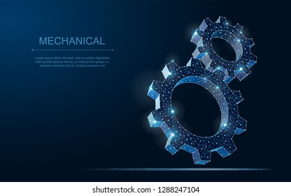 Abstract 3D vector wireframe gears illustration on dark blue background.