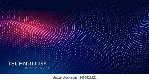 Abstract 3d wave particle line.  Background big data visualization futuristic technology. Ai tech point line wireframe. Vector illustration