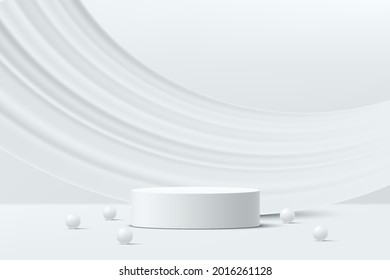 Abstract 3D white cylinder pedestal podium and white liquid curve shape backdrop with white ball. Luxury white minimal wall scene for product display presentation. Vector rendering geometric  platform