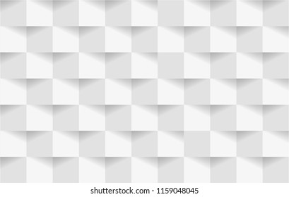 Abstract 3d white geometric background template with shadow. Checkerboard texture. Pattern from pieces of paper. Vector design illustration.