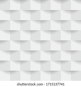 Abstract 3d white geometric background with shadow. Checkerboard texture.
