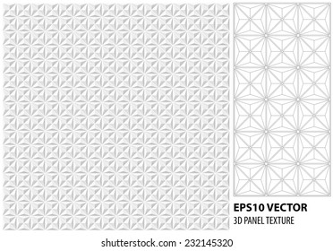 Abstract 3d white geometric background. White seamless texture with shadow. Simple clean white background texture. 3D Vector interior wall panel pattern. Vector seamless texture tile.