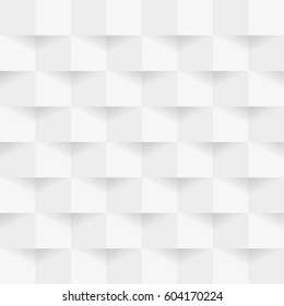 Abstract 3d white geometric background with shadow. Checkerboard texture. Pattern from pieces of paper. Vector design illustration.