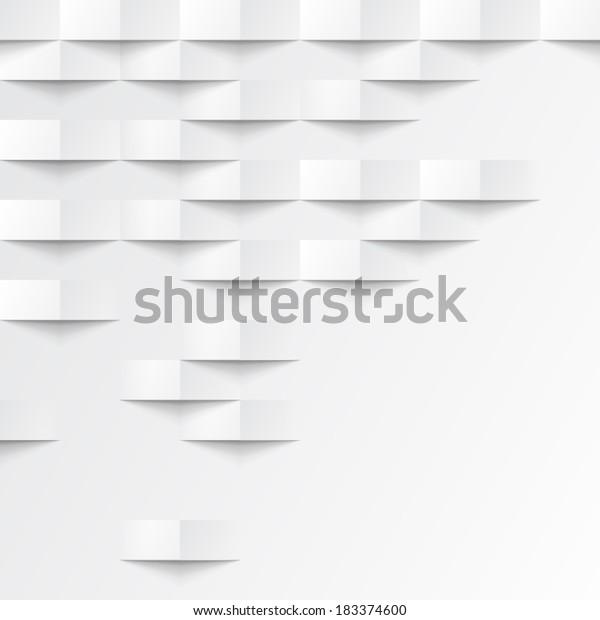 Fondo geométrico abstracto 3d blanco. Textura transparente blanca con sombra. Sencilla textura de fondo blanco. Patrón de panel interior de pared del vector 3D.
