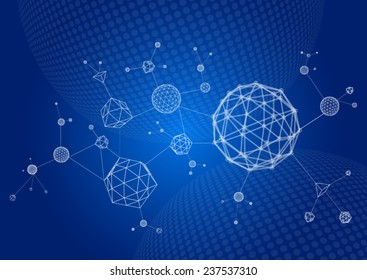 Abstract 3d wire frame molecules. Scientific atomic shapes in cyberspace.