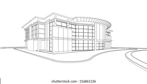 Abstract 3D wireframe of building. my design