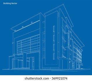 Building blueprint images stock photos vectors shutterstock abstract 3d wireframe of building my sketch design malvernweather Choice Image