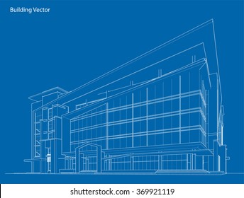 Abstract 3D Wireframe of Building. My Sketch Design