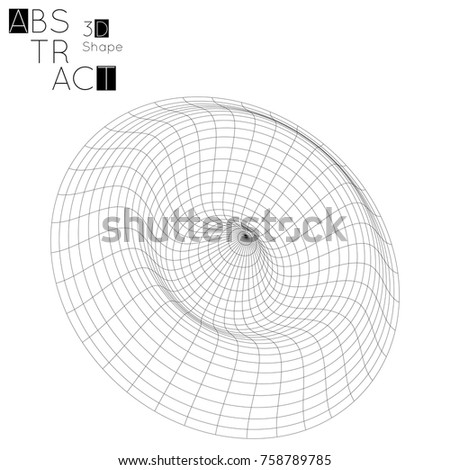 Abstract 3 D Wireframe Geometric Shape Isolated Stock Vector