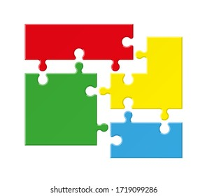Abstract 4 pieces puzzle rectangle infographic. Four sided shape puzzle presentation. Vector illustration