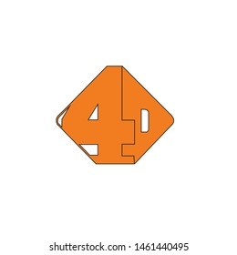 Abstract 4D Logo design orange template - VECTOR