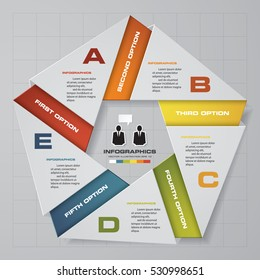 Abstract 5 steps modern presentation template. Pentagonal shape. EPS10.