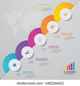 Abstract 5 steps presentation chart infographics element. EPS 10.