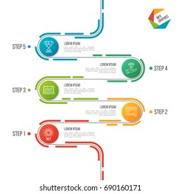 Abstract 5 steps road timeline infographic template. Vector illustration.