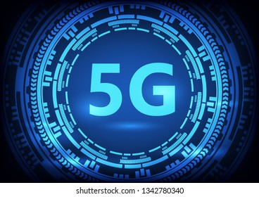 Abstract 5G technology blue with digital circuit line background. Vector illustration communication internet online technology concept.