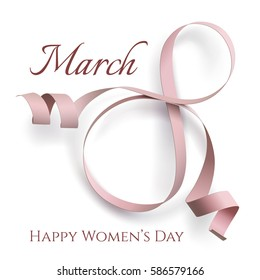 Abstract 8 March greeting card template isolated on white. International Women's day background, invitation or brochure. Vector illustration.