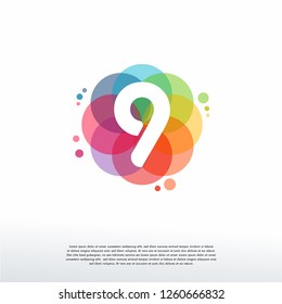 Abstract 9 logo designs concept vector, Colorful Number 9 logo designs