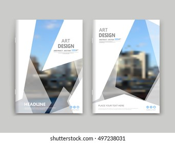 Abstract a4 brochure cover design. Text frame surface. Urban city view font. Title sheet model set. Modern vector front page. Brand logo. Info banner texture. Triangle figure icon. Ad flyer fiber